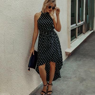 Fashion Polka Dot Print Dress Sexy Sleeveless irregular hem high waist dress Summer loose holiday dress Sundress Beachwear D30