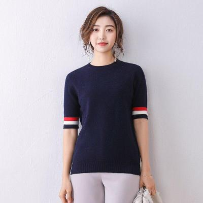 female shirt white knitted pullover short sleeves spring warm fashion women tops round neck short casual wool