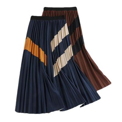 2020 Autumn New Arrival 3 Color A-line Temperament Color Matching Collage Skirt Cotton Pleated Skirt Striped Skirt Free Shipping