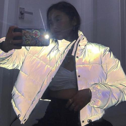 Reflective Gray Zipper Oversized Women Jackets Long Sleeve Button Loose Thick Cropped Jacket Sexy Streetwear Coat Winter 2020