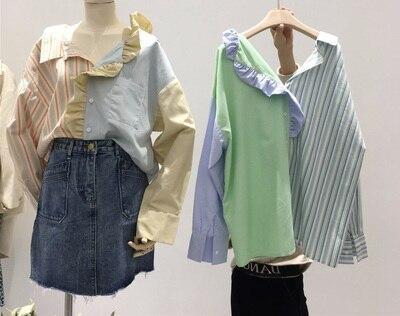 2020 Fashion Spring and Summer Korean Irregular Stripe Shirts Cotton Streetwear Ruffles Patchwork Turn-Down Collar Shirts