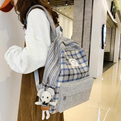 Student Female Cute Backpack Linen Women Fashion School Bag Harajuku Girl Kawaii Backpack Striped Lattice Lady Bags Doll pendant