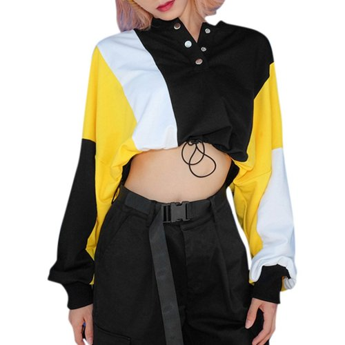 Harajuku Casual Patchwork Thin Sweatshirt Autumn O-Neck Button Long Sleeve Pullover Women Short Navel Drawstring Tops Hip Hop#Y3