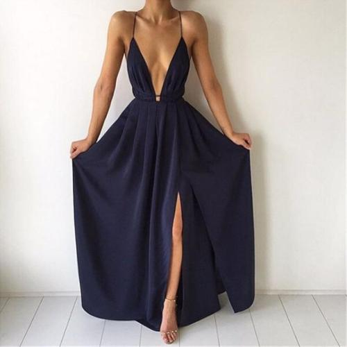 Summer Maxi Dress Women Solid Color Sexy Deep V-Neck Sleeveless Spaghetti Strap Backless High Split Long Sundress Vestidos