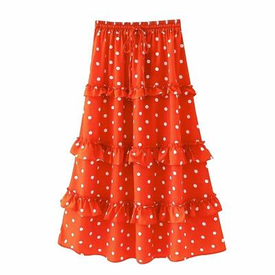 Foridol polka dot ruffle maxi long skirt bottoms women autumn high waist orange retro chic A-line skirts 2020 beach faldas mujer