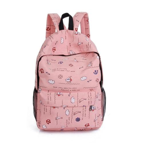 Canvas Cartoon Printed Women Backpack Large Capacity School Bags For Teenage Girls Fashion Travel Notebook Backpack