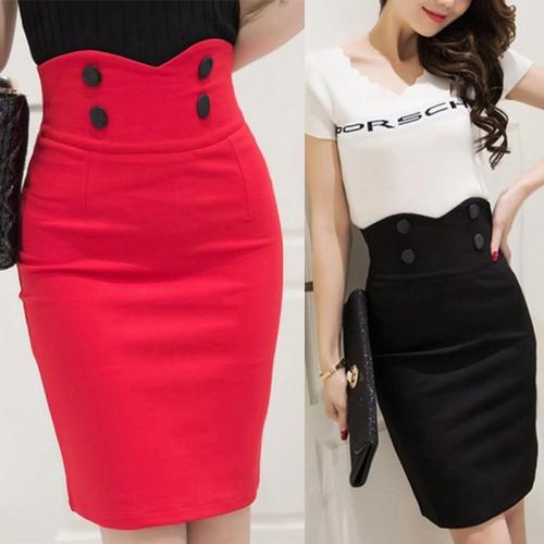 2020 High Waist Elastic Women Skirts Elegant Slim Solid Color Black Red Double Button OL Sexy Back Slit Pencil Skirts For Women