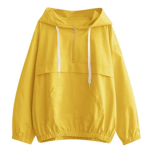 Women Hooded Casual Thin Sweatshirt Zipper Sport Long Sleeve Pullover With Pockets Solid Drawstring Loose Hoodies Tops #Y3