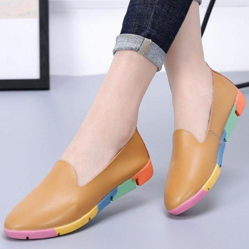 Women flats shoes loafers 2019 new genuine leather Pointed Toe shoes woman slip on fashion ladies shoes flats women plus size