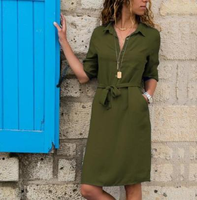 2020 New Summer Autumn  Women Three Quarter Long Blouse Dress  Fashion Ladies Turn-Down Collar Casual Loose Shirt Dress Vestidos