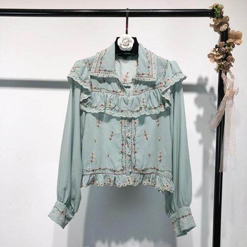 Spring New Summer Chiffon Ruffles Floral Machine Embroidery Long-sleeved Chiffon Shirts Blouses Women Fashion Streetwear 2020