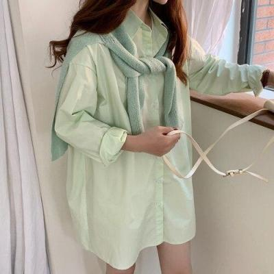 Korean Chic Spring Macaroon Solid Color Loose Mid-Length Shirts+Outdoor Shawl Sweaters Women Blusas New Fashion Streetwear 2020