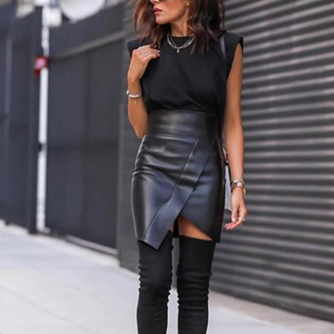 2020 Summer Black PU Leather Skirt Women Sexy High Waist Bodycon Surplice Wrap Skirt Office Ladies Asymmetrical Club Party Skirt