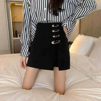 Big Pin Buckle Pencil Skirts Women Black Zipper High Waist Short Mini Skirt A-Line Korean Design Summer Skirt Plus Size W425