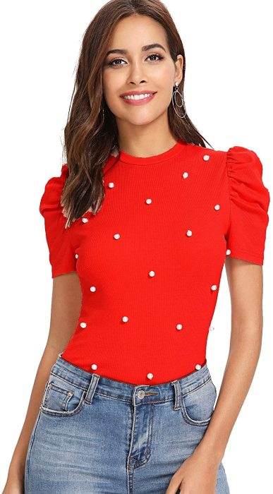 Romwe Women's Elegant Pearl Embellished Puff Short Sleeve Embroidered Blouse Tops