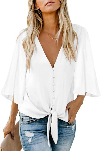 luvamia Women's V Neck Tops Ruffle 3/4 Sleeve Tie Knot Blouses Button Down Shirts
