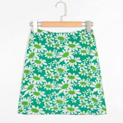 Flower print skirts for women summer beach skirts female high waist A line mini short skirt green floral skirt faldas 2020