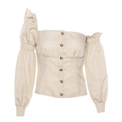 2020 Off Shoulder Ruffle Sexy Blouse Women Square Neck Vintage Elegant Shirt Irregular Plaid Beige Long Sleeve Blouse Female