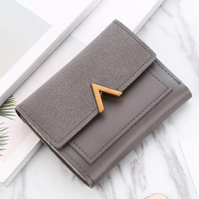 Women Short Frosted Wallet Matte Leather Mini Triple Folding Card Holder Purse