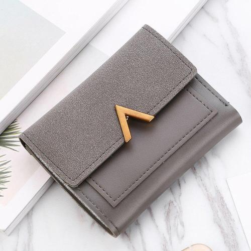 Women Short Frosted Wallet Matte Leather Mini Triple Folding Card Holder Purse