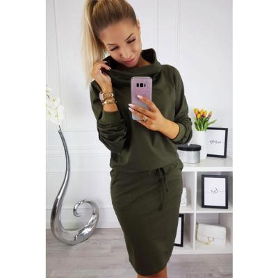 Turtleneck Bodycon Ladies Midi Dress Solid Color Long Sleeve Casual Dress For Women Wrap Belted Autumn Female Dresses Vestidos
