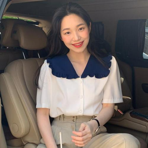 Korean Summer Vintage Peter Pan Collar Ruffles Patchwork Single-Breasted Loose Shirts Female Blouses Fashion Streetwear 2020