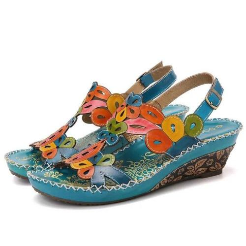 new women's sandals fashion ethnic style retro large size wedges handmade sandals slippers platform sandalias tacon women shoes