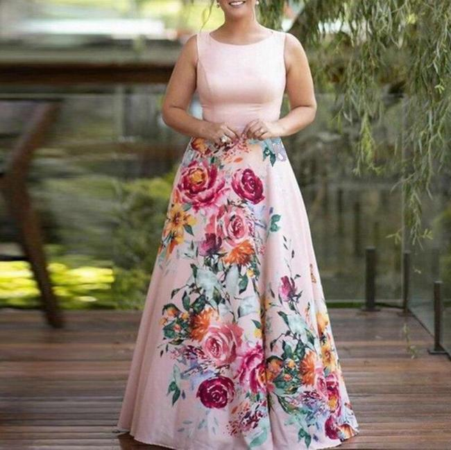 Pink Woman'S Summer Dress Floral Printed Ladies Maxi Dress Sleeveless Fashion A-Line Bodycon Female Wedding Party Dress D40