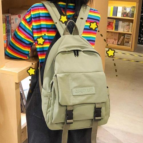 Fashion Nylon Waterproof Backpack Cute Student Women School Bag Girls Kawaii Backpack Female Buckle Luxury Teenage Bag Lady Book