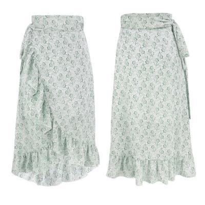Wrap chiffon midi skirt autumn winter women casual long skirt side slit ruffle pink skirt elegant office lady skirt female
