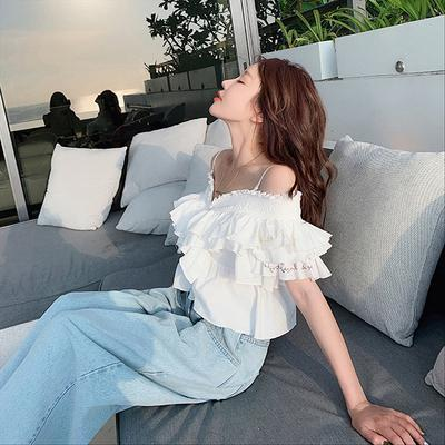 2020 Women White Cami Ruffle Edge Off Shoulder Summer Blouses Sweet Heart Sexy Nightclub Tops New Arrival Big Size Hot Sale