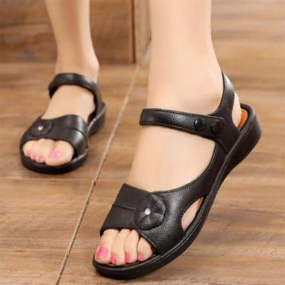 2020 Summer Women's Sandals PU Hook&Loop Casual Mother Sandals Women Platform Flat Sandalias Ladies Female Beach Shoes