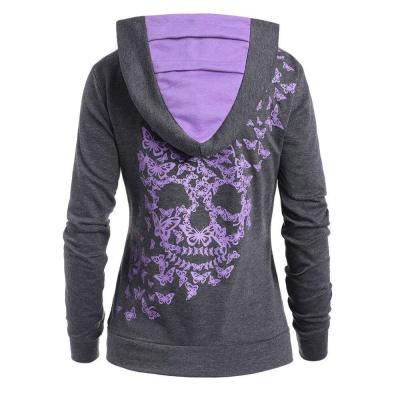 Womens Fashion Butterfly Skull Print  Hoodie  Sweatshirt Tops Sweatshirt