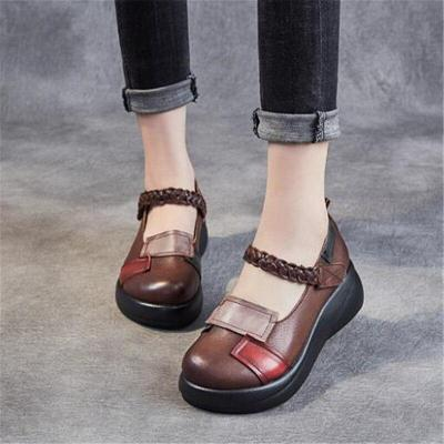 New Classic Splicing Spell Colors 100%  Genuine Leather Shoes Platform Heighten Shoes Wedges High Heel Shoes Fashion Women Shoes