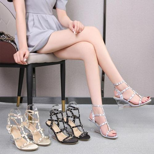 Shuzumiao Women Samdals 8cm High Heels Sexy Ankle Strap Open Toe Sandals Party Dress New Women Shoes T Strap Rivet Plus Size 43