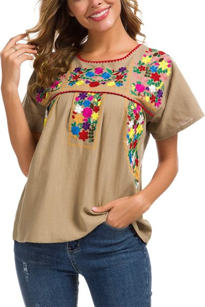 Women's Embroidered Mexican Peasant Blouse