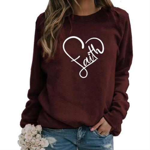 Faith Letters Print Long Sleeve Round Neck Hoodies For Women Kawaii Women's Sweatshirt Femmes Cotton Plus Size 5XL Thick Girls
