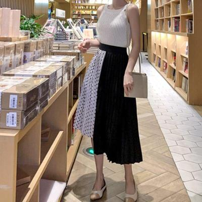 Patchwork Dot Print Skirts Women Korean Pleated Skirts Sexy Design Summer Long Maxi Skirts Plus Size Elastic Waist Long Harajuku