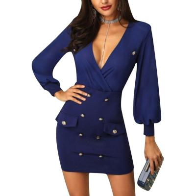 Office Ladies Work Dress Solid Lantern Sleeve Sheath Button Dress For Women V Neck Long Sleeve Bodycon Dress Mini robe femme D30