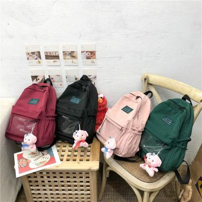 Nylon women transparent backpack clear teenage girl Pendant cute backpack plastic Student Applique lady book bags school fashion