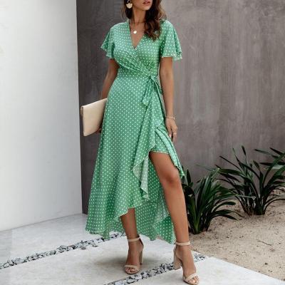 Polka Dot Summer Dress Short Sleeve Fashion Belt Asymmetrical Sundress Lady Maxi Dress V Neck Streetwear Office Female Dress D30