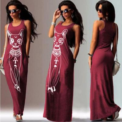 2018 Summer Autumn Long Dress Floral Print  Beach Dress Tunic Maxi Dress Women Evening Party Dress Sundress