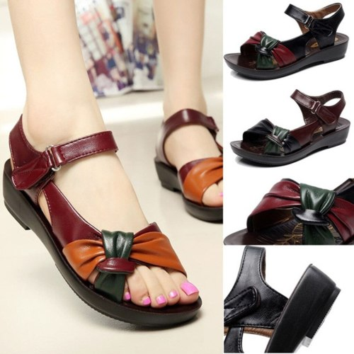 Women Ladies Summer Sandals Fashion Leather Knot Sandals Comfort Shoes Open Toe Shoes Solid Color Wild Wedges Sandal