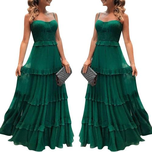 Women Elegant Spaghetti Strap Long Dress Soild Color A-line Sleeveless Dress Sexy Square Collar Party Dress платье женское D30