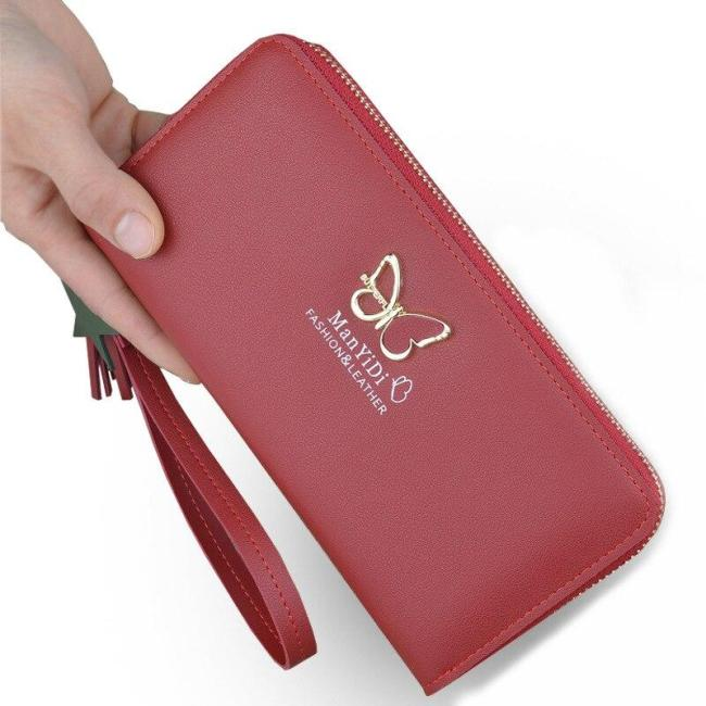 New butterfly wallet ladies long zipper clutch women's 2020 European and American fashion wallet large capacity wallet