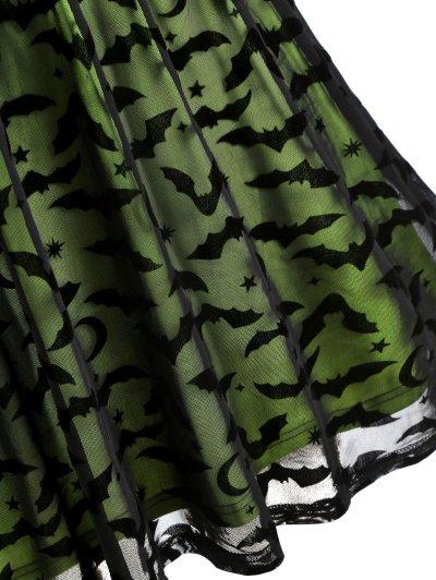 ROSEGAL Gothic Dress Plus Size Women Halloween Bat Mesh Insert Neon Dress Vestidos Femme Spaghetti Strap A-Line Sexy Party Dress