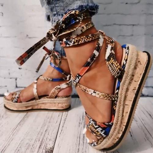 2020 Wedges heels Fashion Wholesale Shoelaces Snake Printed Summer INS Hot Shoes Women Sandals Big Size