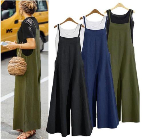 2020 Plus Size S-5XL Women  Dress Cotton Pocket Long Wide Leg Romper Dungaree Bib Overalls Casual Loose Solid Dress