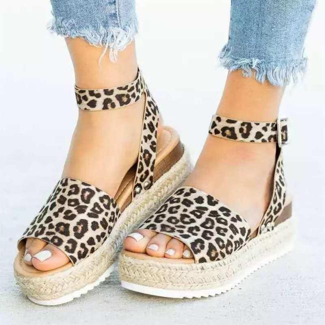 2020 Flock Ankle Strap Leopard Sandals Women Wedges Shoes Heels Sandals Summer Flip Flop Chaussures Platform Sandals Woman Shoes