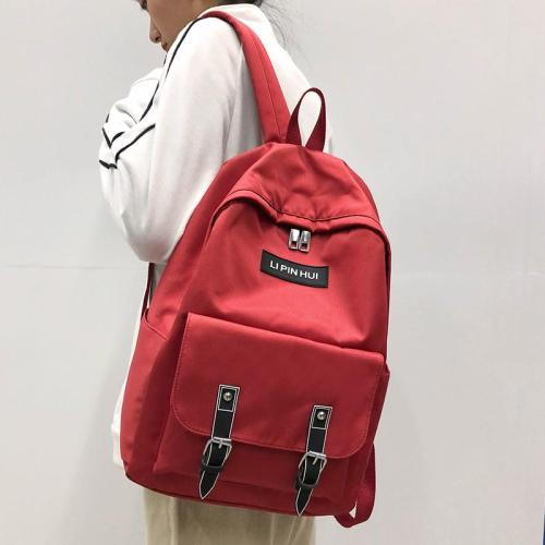 Fashion Buckle Nylon Backpack Cute Women Kawaii School Bags Student Girl Backpacks Harajuku Female Luxury Bag Laptop Book Ladies